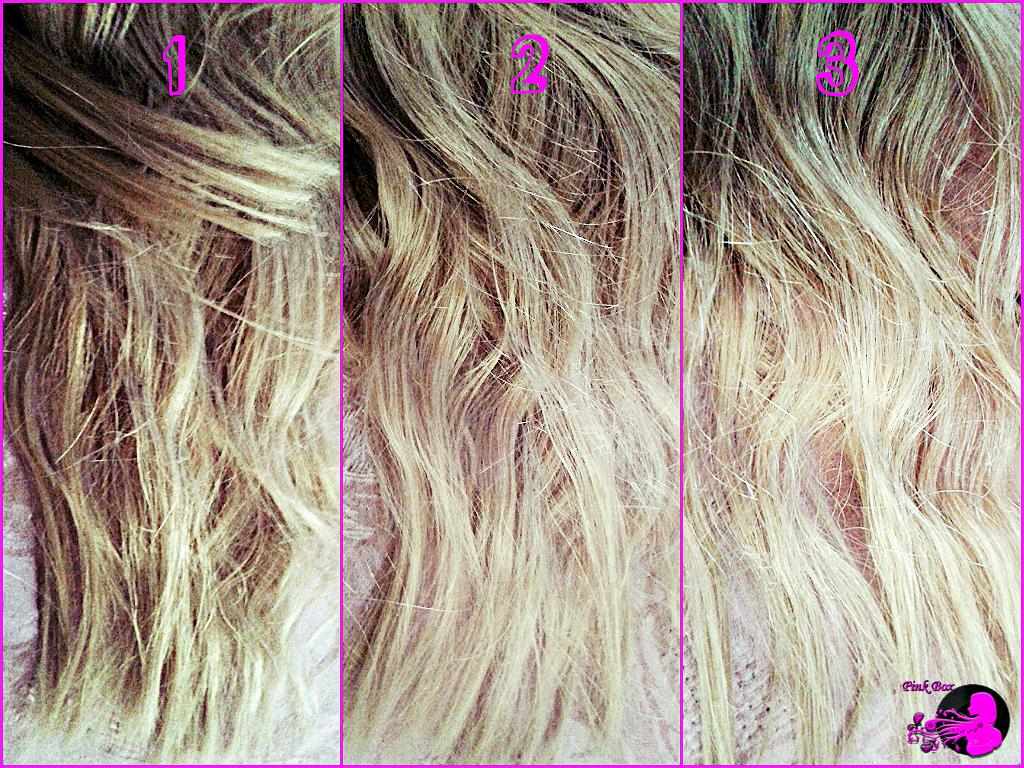 SUNKISS PRIMA E DOPO: La foto 1 mostra i miei capelli prima dell'applicazione di Sunkiss 02, le seconda mostra i risultati dopo la terza applicazione, la terza l'effetto finale al quarto utilizzo del prodotto.